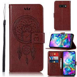 Intricate Embossing Owl Campanula Leather Wallet Case for LG V50s ThinQ 5G - Brown