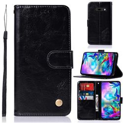 Luxury Retro Leather Wallet Case for LG V50s ThinQ 5G - Black