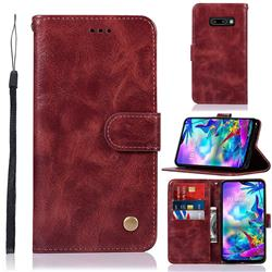 Luxury Retro Leather Wallet Case for LG V50s ThinQ 5G - Wine Red