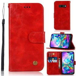 Luxury Retro Leather Wallet Case for LG V50s ThinQ 5G - Red