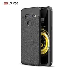 Luxury Auto Focus Litchi Texture Silicone TPU Back Cover for LG V50 ThinQ 5G - Black