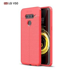 Luxury Auto Focus Litchi Texture Silicone TPU Back Cover for LG V50 ThinQ 5G - Red