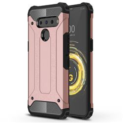 King Kong Armor Premium Shockproof Dual Layer Rugged Hard Cover for LG V50 ThinQ 5G - Rose Gold