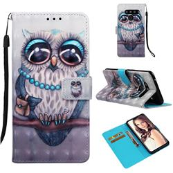 Sweet Gray Owl 3D Painted Leather Wallet Case for LG V50 ThinQ 5G