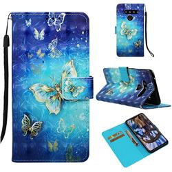 Gold Butterfly 3D Painted Leather Wallet Case for LG V50 ThinQ 5G