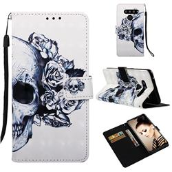 Skull Flower 3D Painted Leather Wallet Case for LG V50 ThinQ 5G
