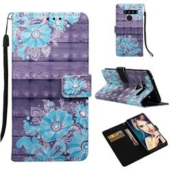 Blue Flower 3D Painted Leather Wallet Case for LG V50 ThinQ 5G