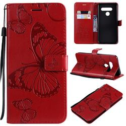 Embossing 3D Butterfly Leather Wallet Case for LG V50 ThinQ 5G - Red