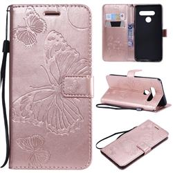 Embossing 3D Butterfly Leather Wallet Case for LG V50 ThinQ 5G - Rose Gold