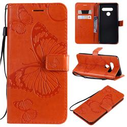 Embossing 3D Butterfly Leather Wallet Case for LG V50 ThinQ 5G - Orange