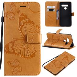 Embossing 3D Butterfly Leather Wallet Case for LG V50 ThinQ 5G - Yellow