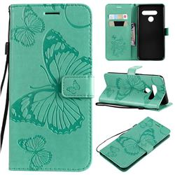 Embossing 3D Butterfly Leather Wallet Case for LG V50 ThinQ 5G - Green