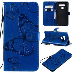Embossing 3D Butterfly Leather Wallet Case for LG V50 ThinQ 5G - Blue