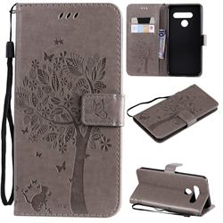 Embossing Butterfly Tree Leather Wallet Case for LG V50 ThinQ 5G - Grey