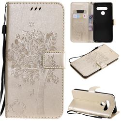 Embossing Butterfly Tree Leather Wallet Case for LG V50 ThinQ 5G - Champagne