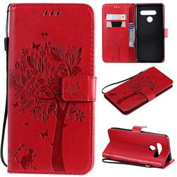 Embossing Butterfly Tree Leather Wallet Case for LG V50 ThinQ 5G - Red