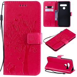 Embossing Butterfly Tree Leather Wallet Case for LG V50 ThinQ 5G - Rose