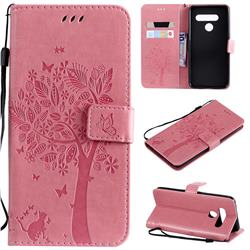 Embossing Butterfly Tree Leather Wallet Case for LG V50 ThinQ 5G - Pink