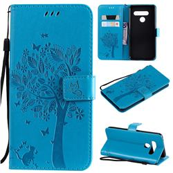 Embossing Butterfly Tree Leather Wallet Case for LG V50 ThinQ 5G - Blue