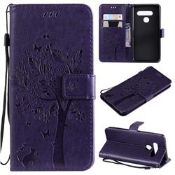 Embossing Butterfly Tree Leather Wallet Case for LG V50 ThinQ 5G - Purple