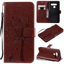 Embossing Butterfly Tree Leather Wallet Case for LG V50 ThinQ 5G - Coffee
