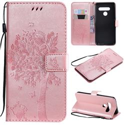 Embossing Butterfly Tree Leather Wallet Case for LG V50 ThinQ 5G - Rose Pink