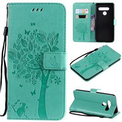 Embossing Butterfly Tree Leather Wallet Case for LG V50 ThinQ 5G - Cyan