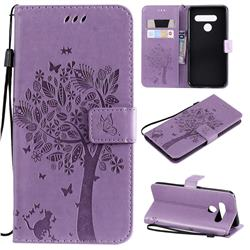 Embossing Butterfly Tree Leather Wallet Case for LG V50 ThinQ 5G - Violet