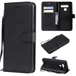 Retro Greek Classic Smooth PU Leather Wallet Phone Case for LG V50 ThinQ 5G - Black