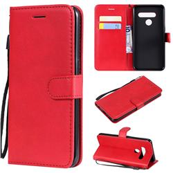 Retro Greek Classic Smooth PU Leather Wallet Phone Case for LG V50 ThinQ 5G - Red