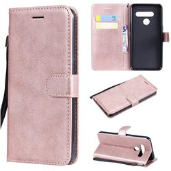 Retro Greek Classic Smooth PU Leather Wallet Phone Case for LG V50 ThinQ 5G - Rose Gold