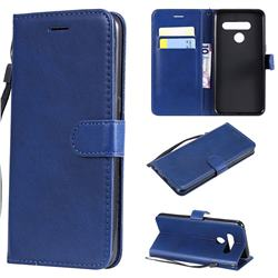 Retro Greek Classic Smooth PU Leather Wallet Phone Case for LG V50 ThinQ 5G - Blue