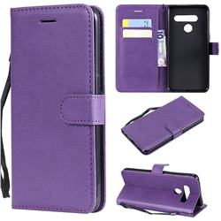 Retro Greek Classic Smooth PU Leather Wallet Phone Case for LG V50 ThinQ 5G - Purple