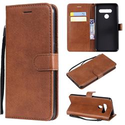 Retro Greek Classic Smooth PU Leather Wallet Phone Case for LG V50 ThinQ 5G - Brown