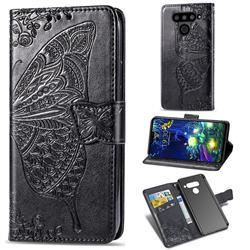 Embossing Mandala Flower Butterfly Leather Wallet Case for LG V50 ThinQ 5G - Black