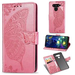 Embossing Mandala Flower Butterfly Leather Wallet Case for LG V50 ThinQ 5G - Pink