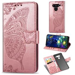 Embossing Mandala Flower Butterfly Leather Wallet Case for LG V50 ThinQ 5G - Rose Gold