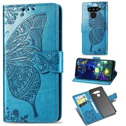Embossing Mandala Flower Butterfly Leather Wallet Case for LG V50 ThinQ 5G - Blue
