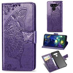 Embossing Mandala Flower Butterfly Leather Wallet Case for LG V50 ThinQ 5G - Dark Purple