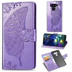 Embossing Mandala Flower Butterfly Leather Wallet Case for LG V50 ThinQ 5G - Light Purple