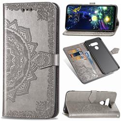 Embossing Imprint Mandala Flower Leather Wallet Case for LG V50 ThinQ 5G - Gray