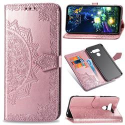 Embossing Imprint Mandala Flower Leather Wallet Case for LG V50 ThinQ 5G - Rose Gold