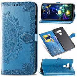 Embossing Imprint Mandala Flower Leather Wallet Case for LG V50 ThinQ 5G - Blue