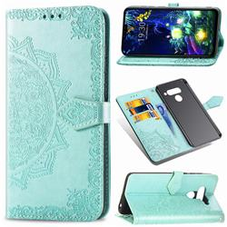 Embossing Imprint Mandala Flower Leather Wallet Case for LG V50 ThinQ 5G - Green