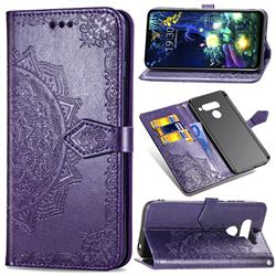 Embossing Imprint Mandala Flower Leather Wallet Case for LG V50 ThinQ 5G - Purple