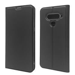 Ultra Slim Card Magnetic Automatic Suction Leather Wallet Case for LG V50 ThinQ 5G - Star Grey