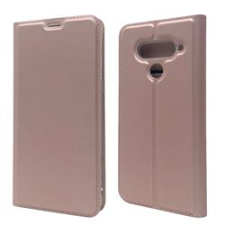 Ultra Slim Card Magnetic Automatic Suction Leather Wallet Case for LG V50 ThinQ 5G - Rose Gold