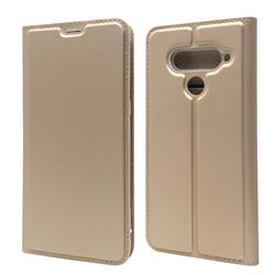 Ultra Slim Card Magnetic Automatic Suction Leather Wallet Case for LG V50 ThinQ 5G - Champagne