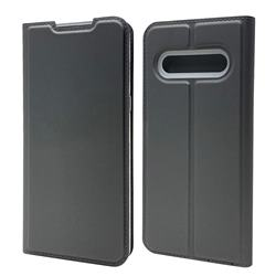 Ultra Slim Card Magnetic Automatic Suction Leather Wallet Case for LG V60 ThinQ 5G - Star Grey