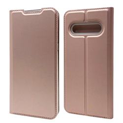 Ultra Slim Card Magnetic Automatic Suction Leather Wallet Case for LG V60 ThinQ 5G - Rose Gold